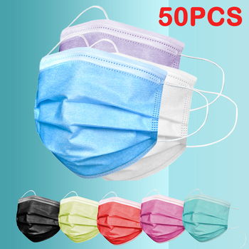 50pcs Disposable Face Mask Anti Dust 3 Ply Filter Masks Thickened Mouth cover Non Woven Breathable Dustproof Pink Black mask
