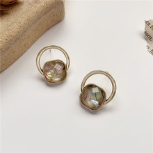 S925 Silver Needle Korea Elegant Simple Retro Circle Ear Stud Crystal Resin Earrings GIRL'S Ear Stud Fashion Women Earrings