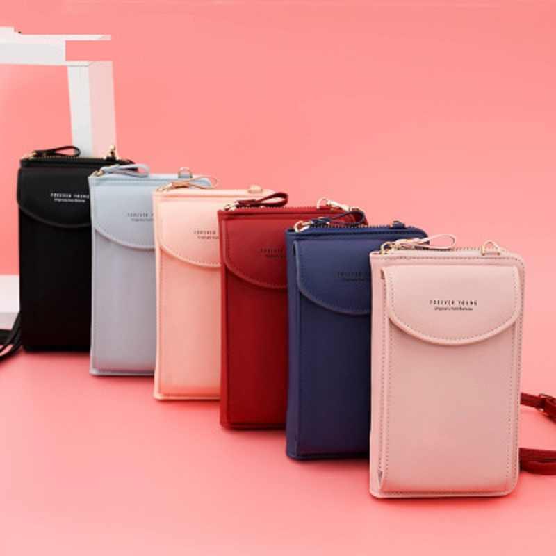 Mini kadınlar omuz çantaları kadın telefon cüzdan Messenger çanta uzun çanta sikke cep PU deri telefon çanta küçük Crossbody çanta
