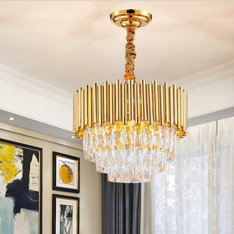 Lustre en or cristal Design rond de luxe moderne éclairage pour Foye lumières maison LED lustres salle à manger luminaires Fixtres 2019