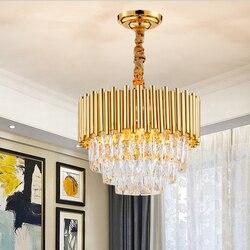 Nowoczesny luksusowy okrągły wzór kryształ złoty żyrandol oświetlenie dla Foye światła domu żyrandole sufitowe LED jadalnia światło do pokoju Fixtres 2019