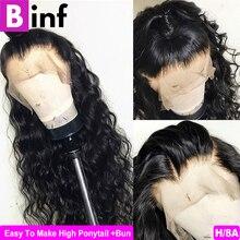 Свободная глубокая 360 фронтальная часть шнурка парик человеческих волос парики предварительно выщипанные волосы с детскими волосами бразильские не Реми волосы Цвет 1B для женщин