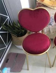 Nordic creative dining chair wrought iron heart-shaped chair nail coffee lounge chair gold simple dressing chair