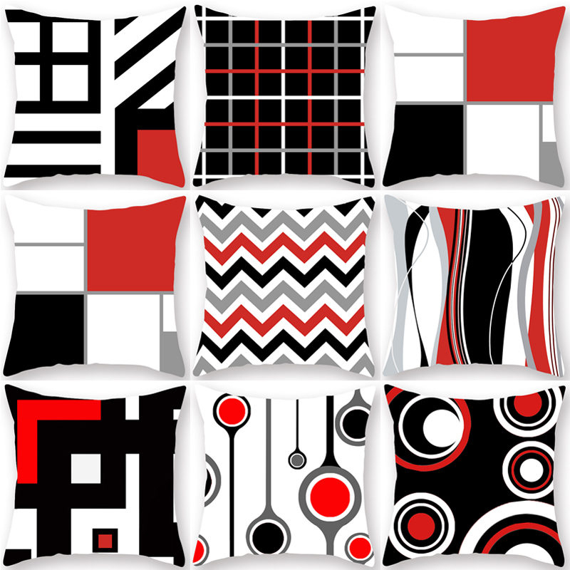 Black Red Geometric Pattern Polyester Throw Pillow Living Room Cushion Cover Car Home Decoration Sofa Decorative Pillowcase40548