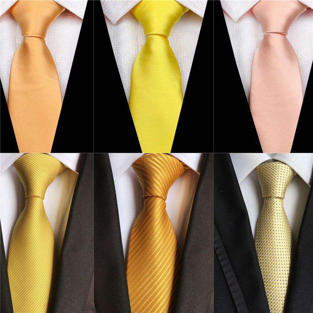 2020 New Classic Solid Design 8cm Silk Ties For Men Wedding Necktie Gold Yellow Green Blue Black Purple Business Neck Tie A053