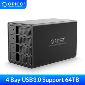 ORICO 4 bay 3.5 inch USB3.0 to SATA HDD Enclosure Aluminum Support 64TB HDD Docking Station with 150W Internal Power Adapter