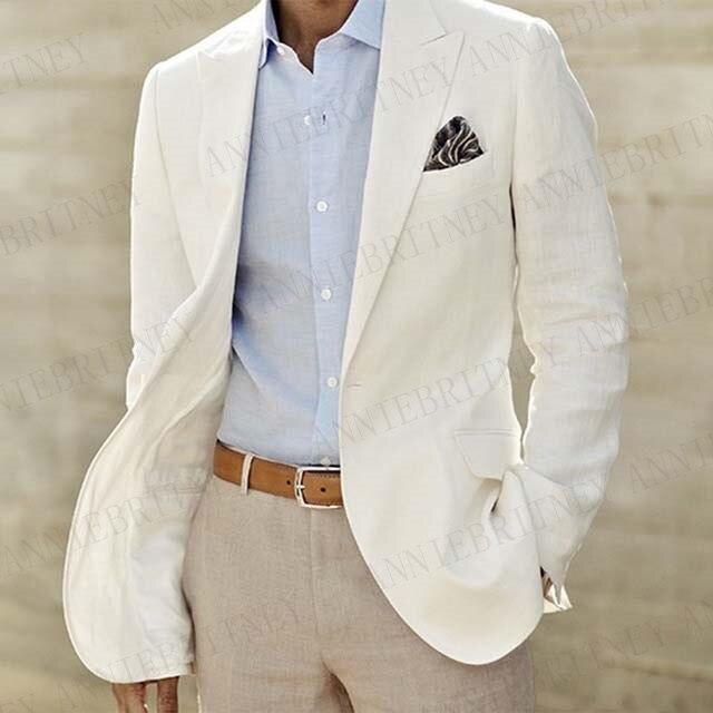 Мужской льняной костюм anniebitney, летний костюм цвета слоновой кости с белым блейзером и брюками, вечерние смокинги для свадьбы, выпускного веч