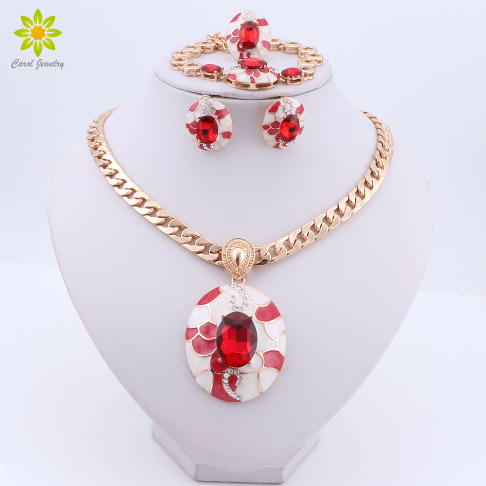 Fashion Gold Color Chain Enamel Pendant Necklace Earrings Bracelet Ring Sets Women Wedding Costume Jewelry Set