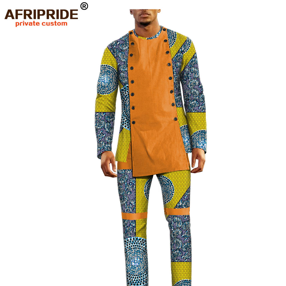 African Ankara Dashiki Pants Set For Men AFRIPRIDE Bazin Richi Full Sleeve Top+full Length Pants Men's Casual Set A1816011