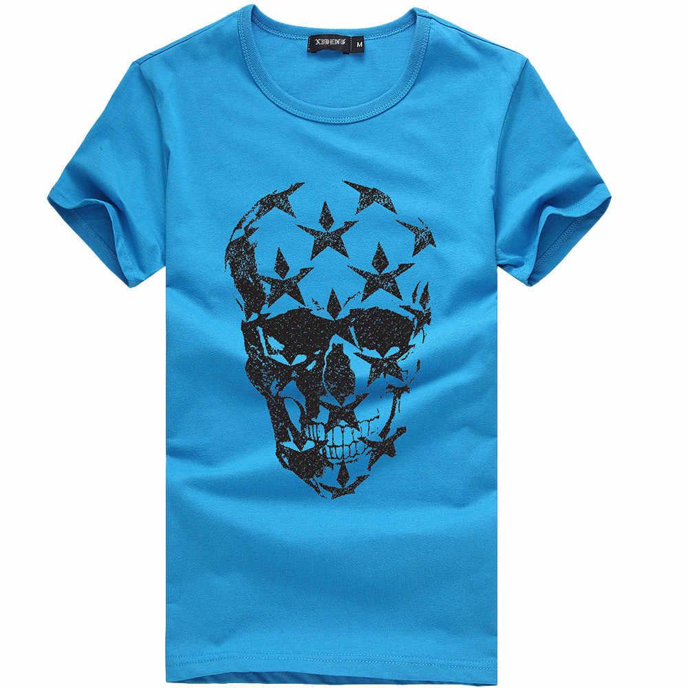 2020 Uomini Divertente T Camicette di Estate Disegno di Modo Del Cranio Manica Corta casual Magliette e camicette Del Cranio Ha Stampato casual T-Shirt Tee Fresco Magliette e camicette camiseta