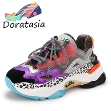 DORATASIA New INS Hot Sale Genuine Leather Suede Platform Sneakers Women 2019 Autumn Fashion mixed-color Dad Shoes Woman Flats