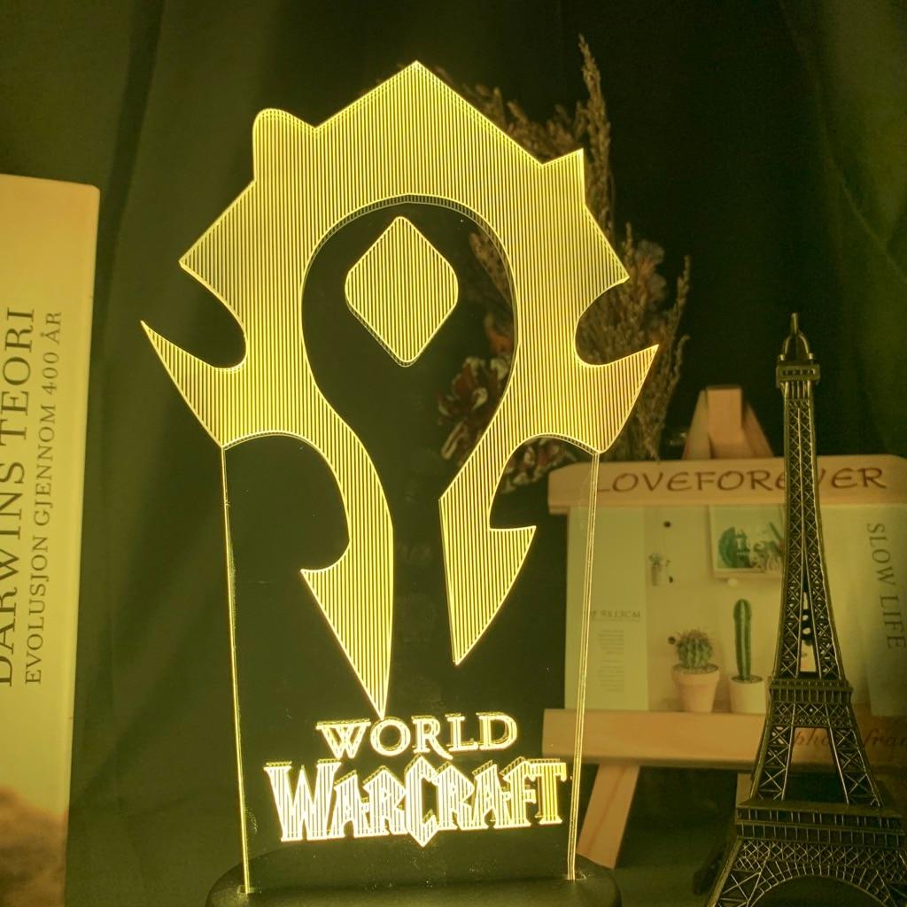H9eb1f437f76143d2a24869a8012fac4b9 Luminária World of warcraft Luz da noite 3d jogo horda bandeira cor mudando nightlight para crianças criança cama quarto decoração sensor de toque lâmpada led wow presente