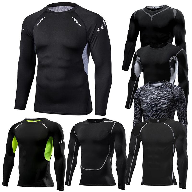 running - Men Compression Running T Shirt Fitness Tight Long Sleeve Sport tshirt Training Jogging Shirts Gym Sportswear Quick Dry rashgard