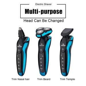 Image 2 - Máquina de afeitar eléctrica 4D para hombres, afeitadora para Barba, lavable, recargable, en seco y húmedo, resistente al agua
