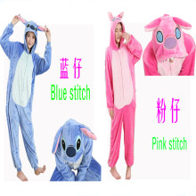 Anime blue Stitch Cosplay Footed One Piece Pajamas Onesie Pink Stitch Costume Fleece Jumpsuits Pyjamas for men and women(China)