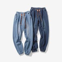 Мужские Оригинальные эластичные штаны со шнуровкой на лодыжке в японском стиле больших размеров, джинсы капри, Мужские штаны