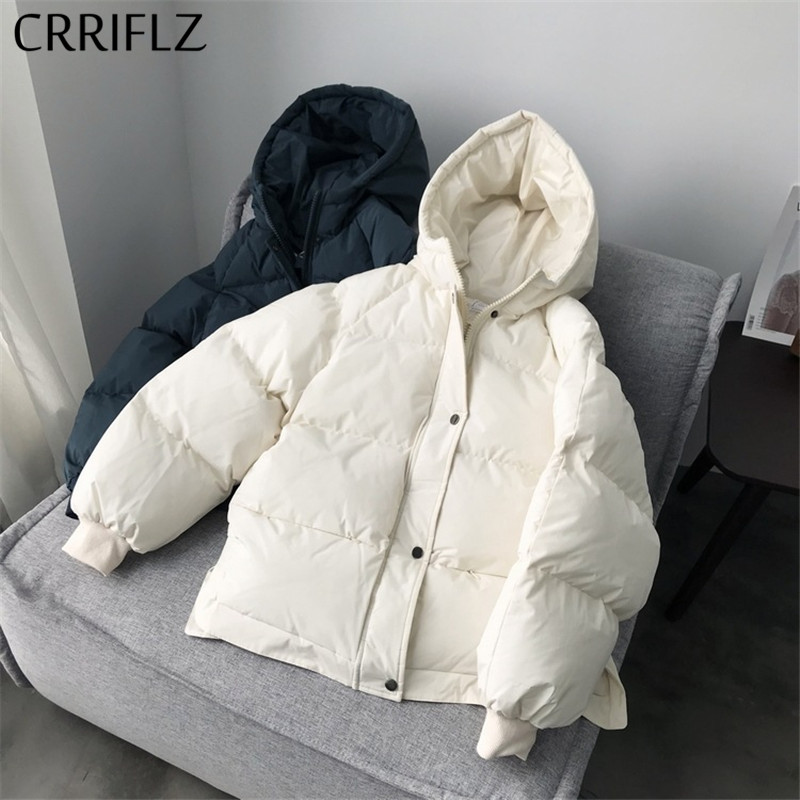 2020 Short Winter Jacket Fashion New Women Down Jacket Simple Design Hooded Coats Warm Thicken Short Casual Down Parka CRRIFLZ