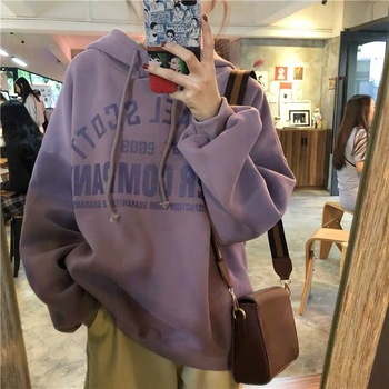 Autumn / Winter 2020 Loose Hooded Long Sleeve Casual Student Printed Letter Thicken Women's Wear