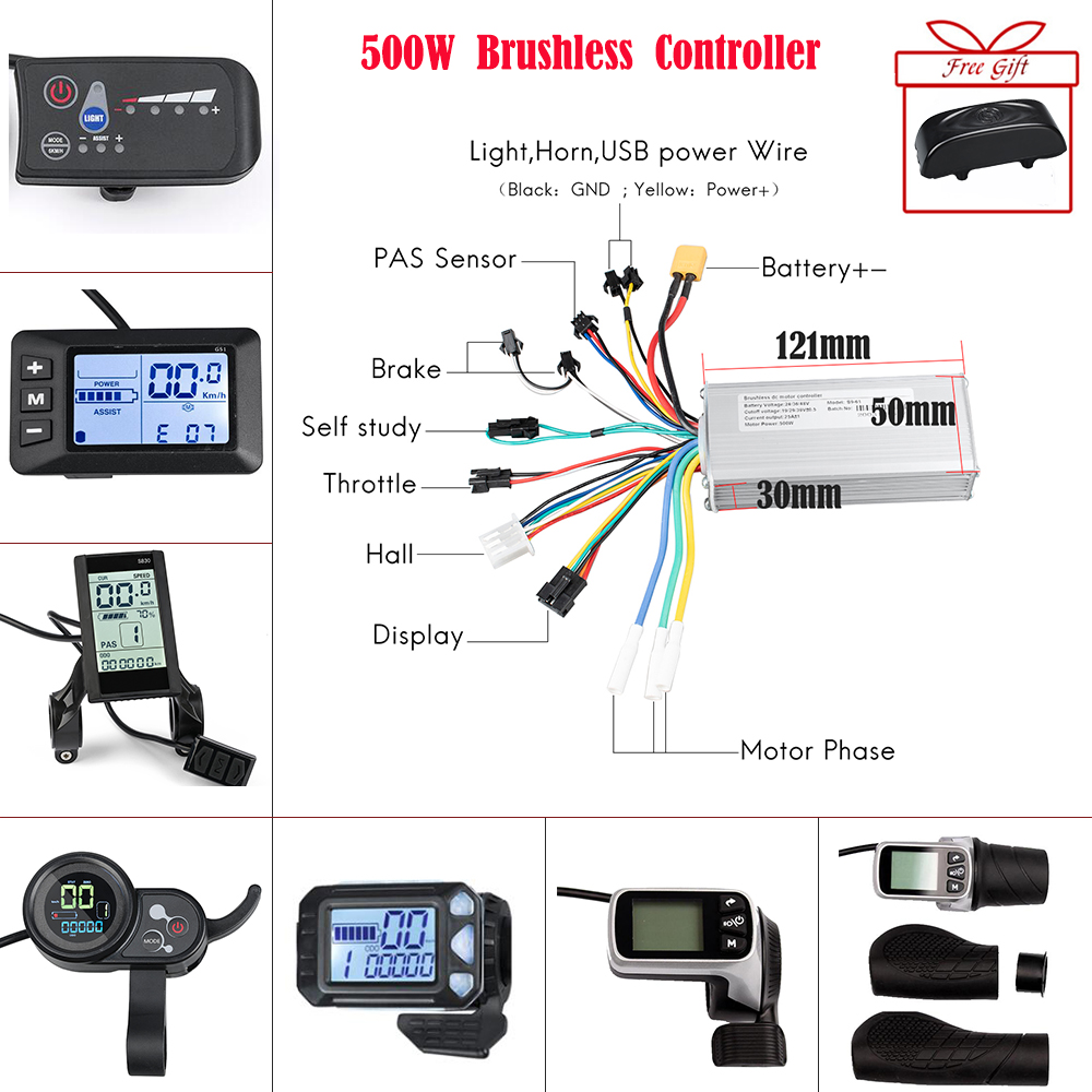 Ebike Brushless Controller Display 24V/36V /48V 500W Electric Bicycle Display Led Bike Display For Ebike  Conversion Kit