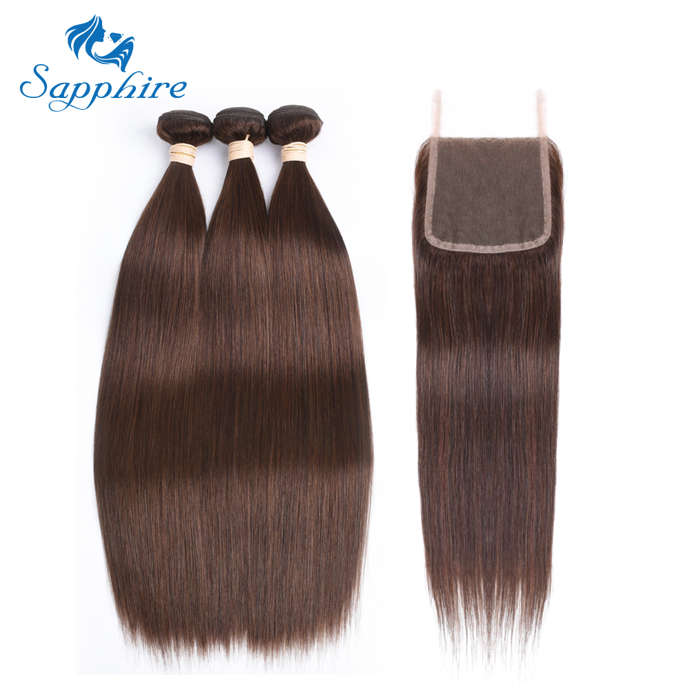 Sapphire Dark/Light 4# Brown Human Hair Bundles With Closure Brazilian Straight Hair Weave Bundles With Closure Hair Extension