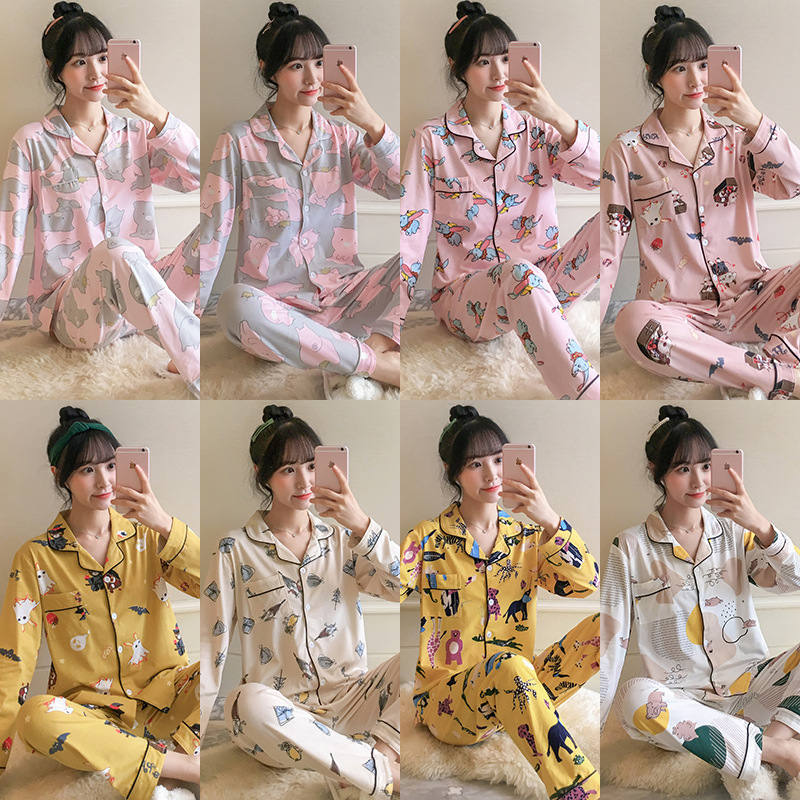 [Multi--] Autumn Pajamas Women's Korean-style Cute Cardigan Long Sleeve Tracksuit Loose-Fit Set M -Xxl