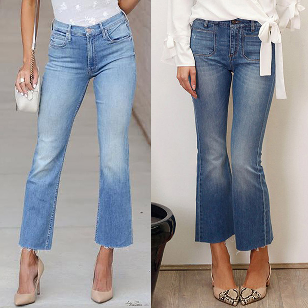 Fashion Women jeans High Waist Button Zipper Pocket Mom jeans Casual Sexy Denim Loose Flares Pants Jeans mujer 2020 S10