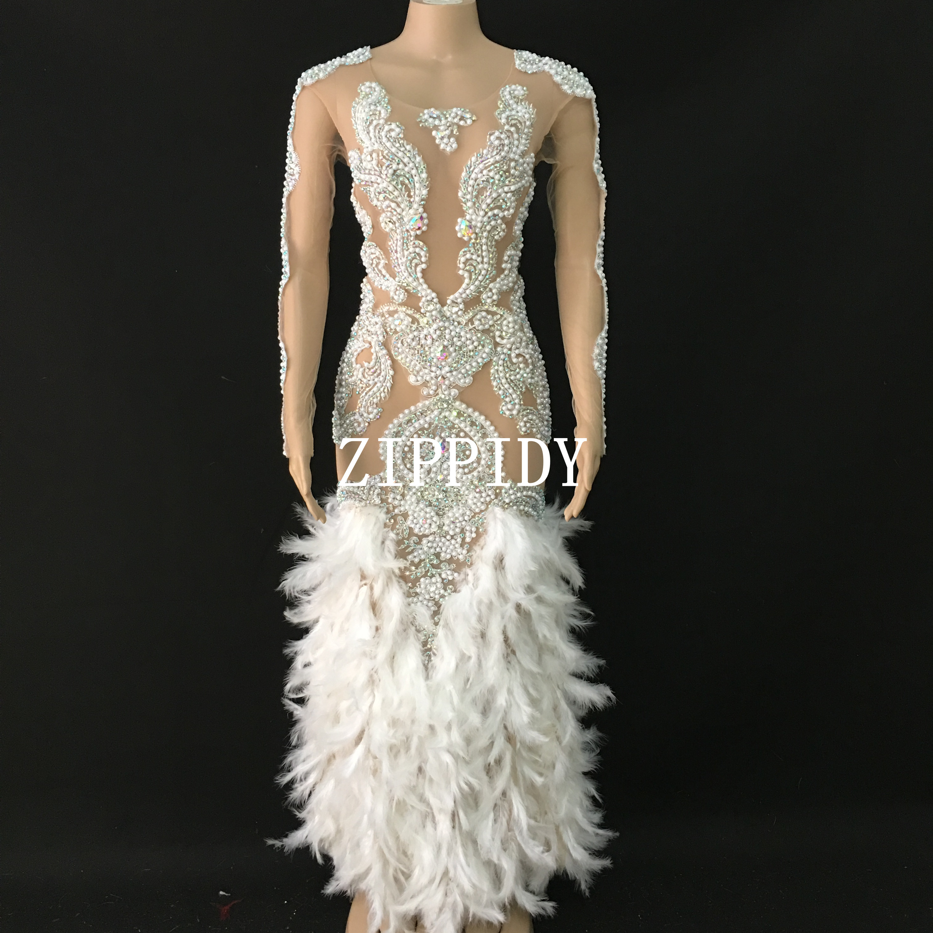 Fashion Feather Stones Pearls Dress Women Party Prom Outfit  Birthday Celebrate Stretch Long Dress Dancer Long Dress