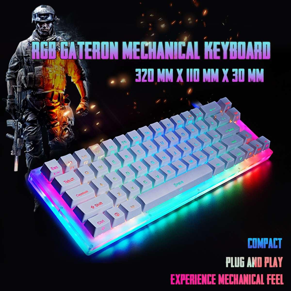 K66 Glazed Colorful Gateron Switch Mechanical Keyboard 40Gbps Type -C  66keys 16.8 Million RGB Crystalline Based Keyboard