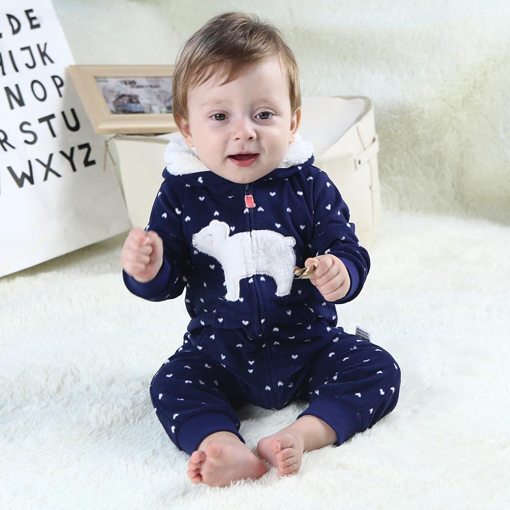 2019 Autumn Winter Warm Fleece New Baby   Rompers   Xmas Infant Costume Animal Overall baby jumpsuits Toddler Sleepwear pajamas