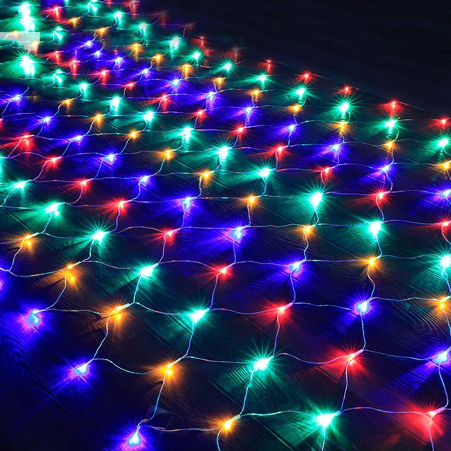 BEIAIDI 3X2M 10X1M LED Mesh Net Fairy String Light Outdoor Garden Christmas Party Fish Net Fairy Light Tree-Wrap Holiday Garland