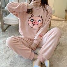 FINETOO las mujeres de franela de invierno Conjunto de pijama de mujer de lana pijamas de algodón ropa de dormir ropa de casa de Coral tibio traje de terciopelo