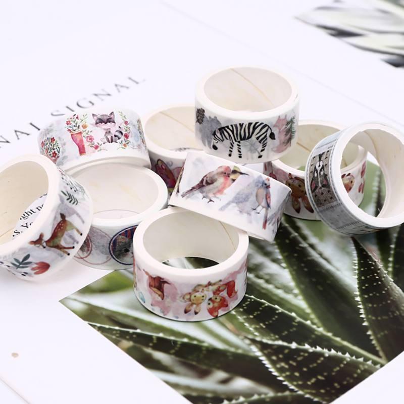 Fashion 12 Rolls Washi Masking Tape Set Petal Paper Masking Tapes Japanese Washi Tape DIY Scrapbooking Sticker 15mm x 2m S01