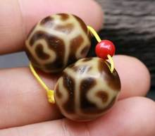 A Pair Magic Tibetan Oily Ivory Color Turtles shell vein Lotus Base dZi Bead Amulet 5A Top Quality(China)