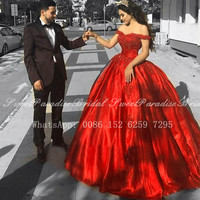 Real Photos Red Quinceanera Dresses With Appliques Beads 2020 Off Shoulder Long Chapel Train Prom Dress Pageant Vestidos De 15