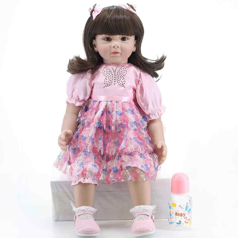 Bonecas 60 см reborn Мягкая силиконовая девочка, носить юбку, как живая маленькая принцесса Кукла reborn, чувствую себя реалистичной