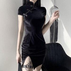 Image 3 - Женское платье в китайском стиле, готическое облегающее мини платье Чонсам, летнее винтажное черное платье в стиле Харадзюку, 2019