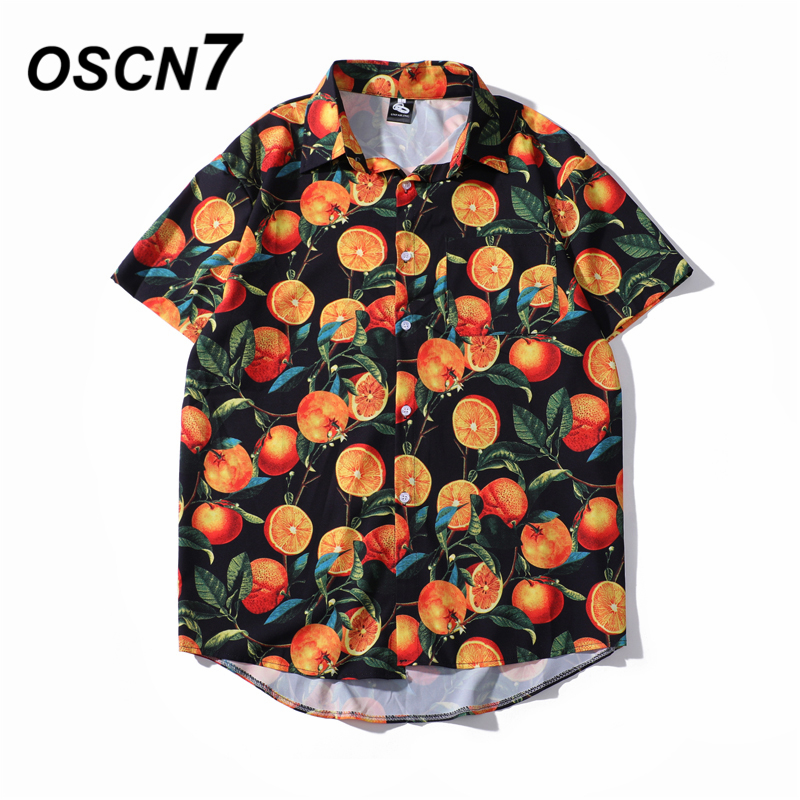 OSCN7 Casual Cloud Printed Short Sleeve Shirt Men Street 2020 Hawaii Beach Oversize Women Fashion Harujuku Shirts For Men 2037