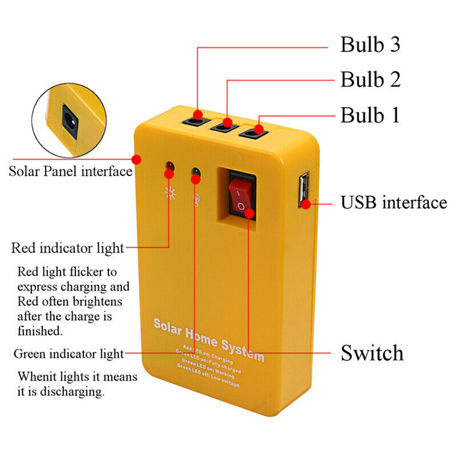 TOP!-Solar Power Panel Generator Usb Charger Home System Outdoor Garden over 2 Led Blubs 6