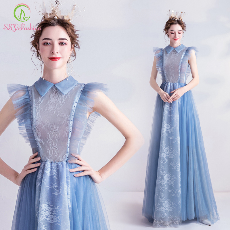 SSYFashion New Grey Blue Evening Dress Lovely Turnover Collar Lace Beading Long Prom Party Gown Special Occasion Dresses Vestido