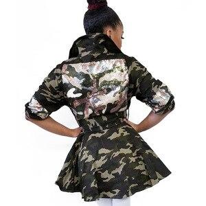 Image 5 - סתיו וחורף נשים מעיל Camo הדפסת בגדי נשים עם פרל דש דקור דק מותן רב תיק אמצע מעיל ארוך לנשים