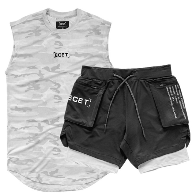 2 Pcs/Set Sports Set Men's Suits Running Shirts/Vests+Sports Shorts Jogging Mens Sportswear Suit Soccer Running Fitness Gym Sets