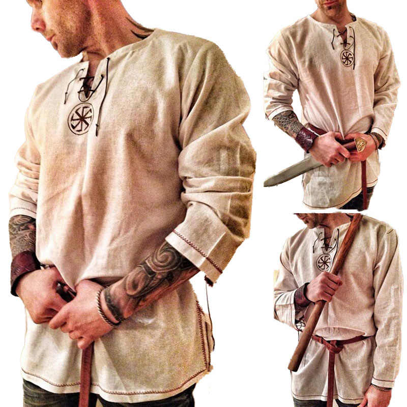 Embroidery Tunic Shirt Knights Viking Pirate Costume Show Men Norse Medieval Battle Warrior Hero Linen Ragnar Lothbrok For Adult
