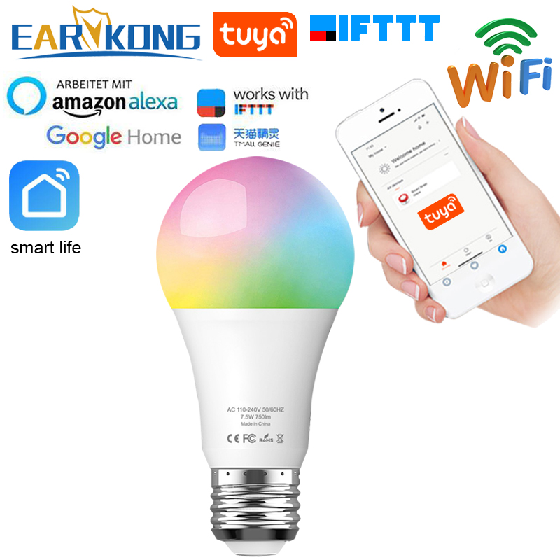 Tuya Lamp Smart WiFi Bulb E27 Compatible With Alexa Google Home IFTTT Tuya APP Timer Dimmer For AC 100-240V 7.5W