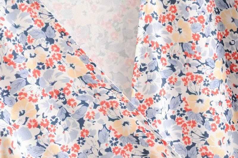 Bazaleas vestido Vintage de cuello en V Wraywomen midi, Francia, colorido vestido de estampado Floral para mujeres, fajas de moda, vestido de manga corta