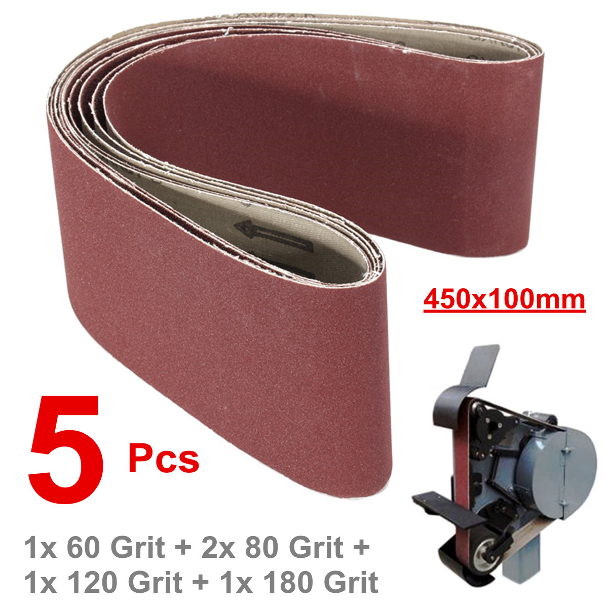 5pcs Sanding Belts 450x100mm Mixed Grade 60 80 120 180 Grit Full Set Abrasive Oxide Polishing Power Tool Sander Grinding Machine