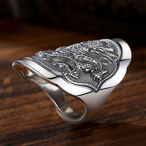 Image 4 - BALMORA 990 Pure Silver Kirin Animal Open Rings for Men Vintage Fashion Thai Silver Ring Gift Party Jewelry Anillos