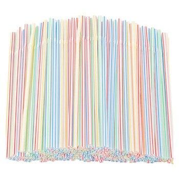 Nuevo-1500 Uds pajitas de plástico flexibles de rayas de varios colores desechables de paja de 8 pulgadas de largo
