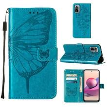 Butterfly flower Leather Phone Case For Xiaomi Redmi Note 10S 10 Pro 9 POCO X3 NFC F3 M3 Mi 11 Redmi K40 9T Wallet Flip Cover