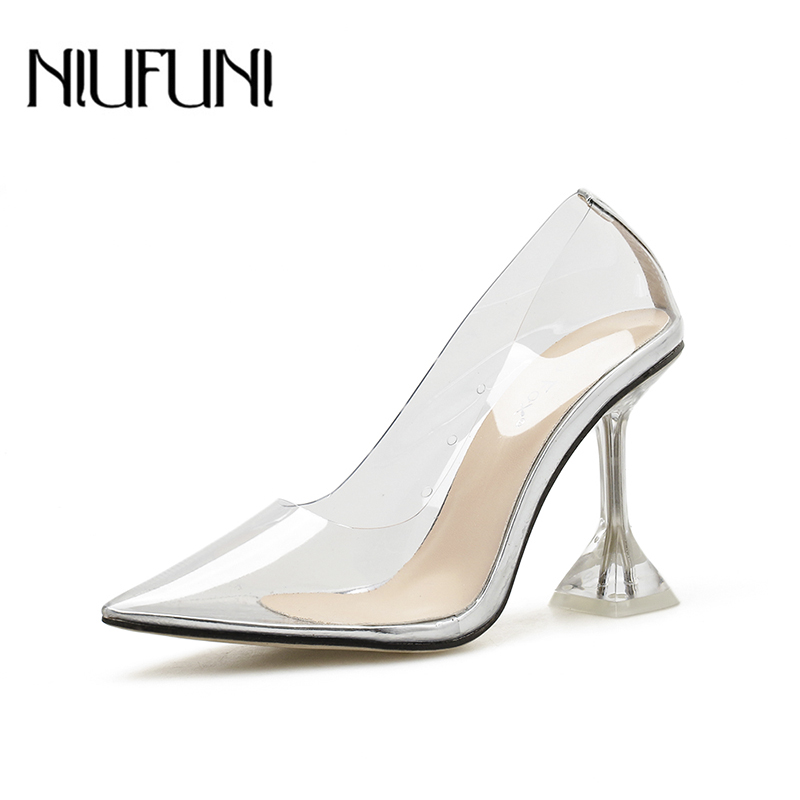 Sexy Women Pumps NIUFUNI Pointed Toe Transparent PU Pumps Stiletto High Heels Plus Size 35-41 Clear Wedding Shoes For Women