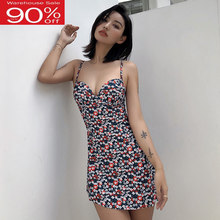 Female Swimsuit Flower Print Swimwear Push Up Women Swim Suit Dress Bathers Vintage Bathing Suits with Shorts Beach Wear Maillot(China)